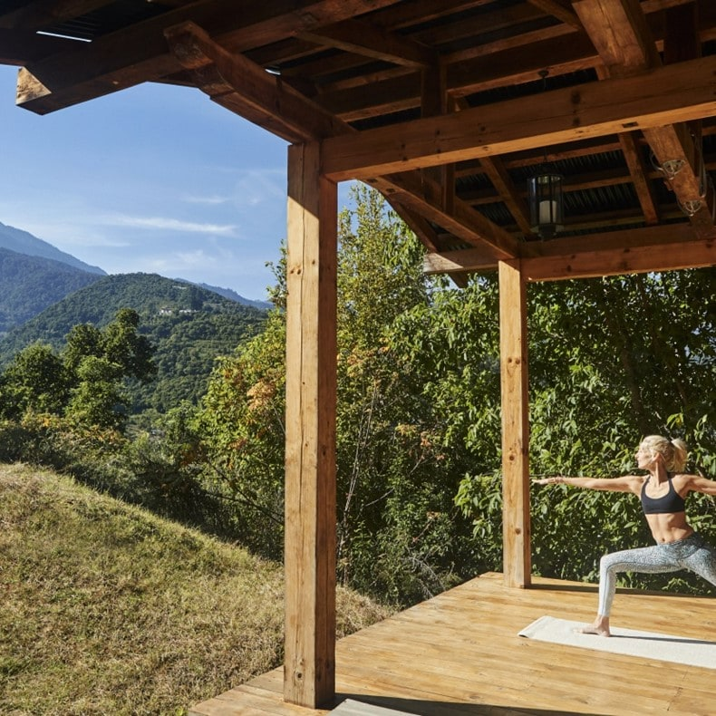 Reconnect to nature and yourself with asanas in our yoga hut