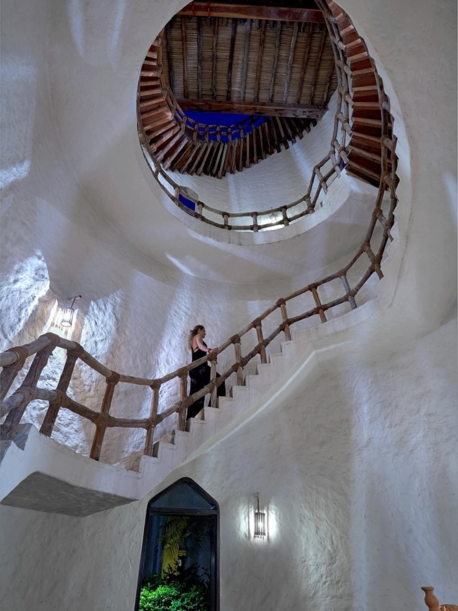 Zighy Bay Oman Wine Tower staircase