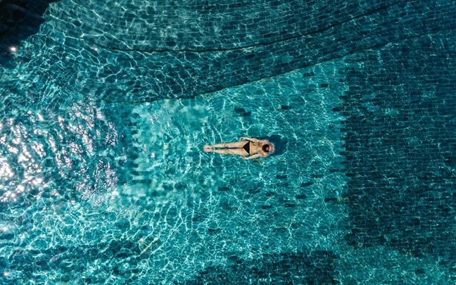 Zighy Bay Oman Main pool aerial
