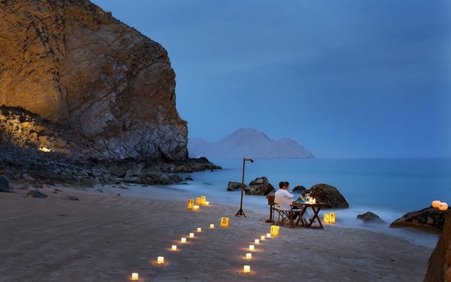 Zighy Bay Oman Private dining by the bay