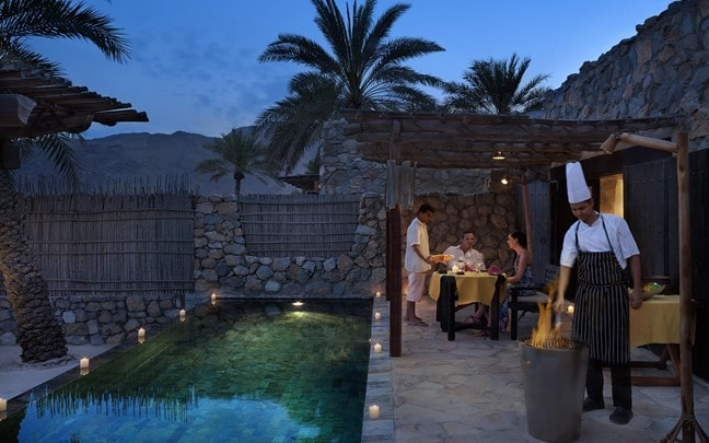 Zighy Bay Oman In villa dining private barbecue