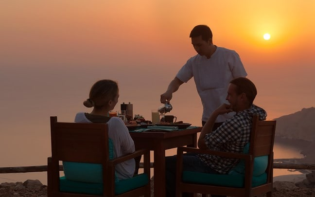 Zighy Bay Oman Sunrise breakfast Sense on the Edge