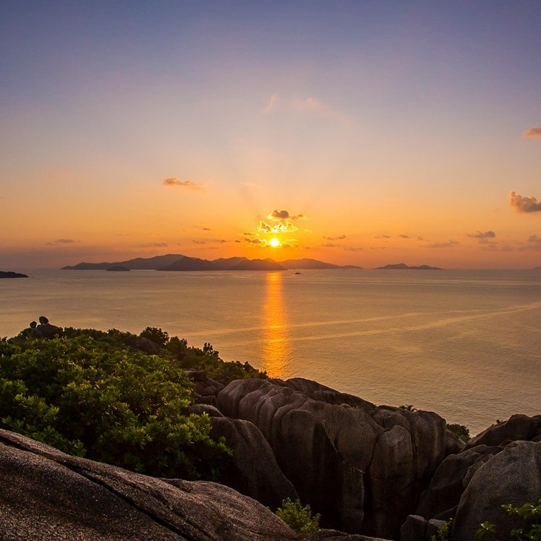 Sunset View Over Praslin Island from Félicité Top Hill