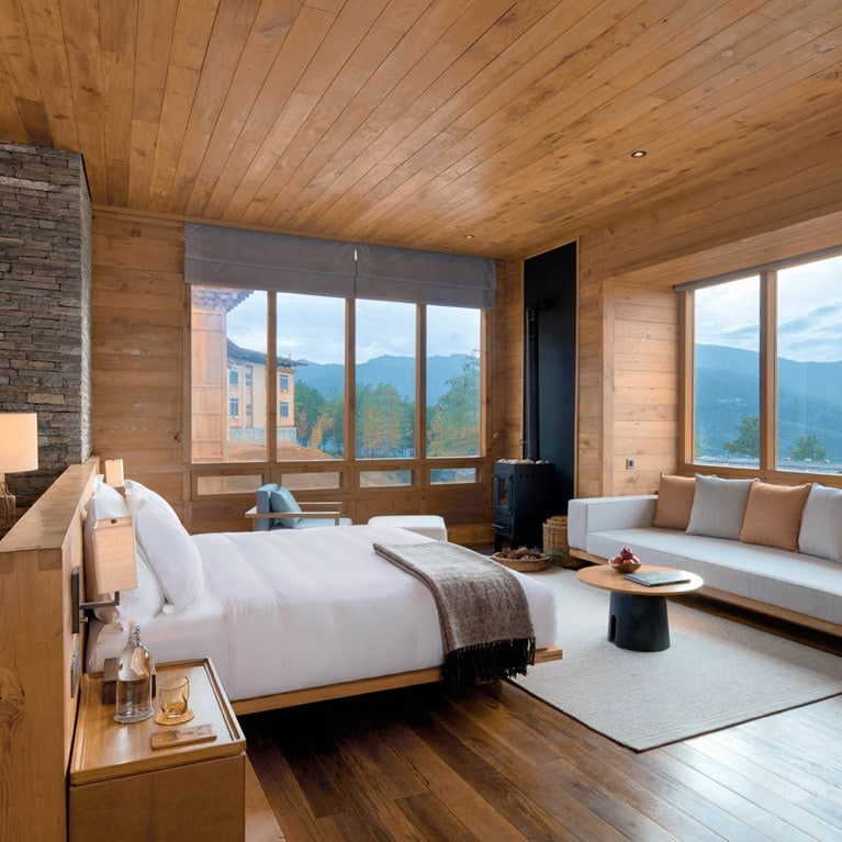 Lodge Suite bedroom at Six Senses Paro