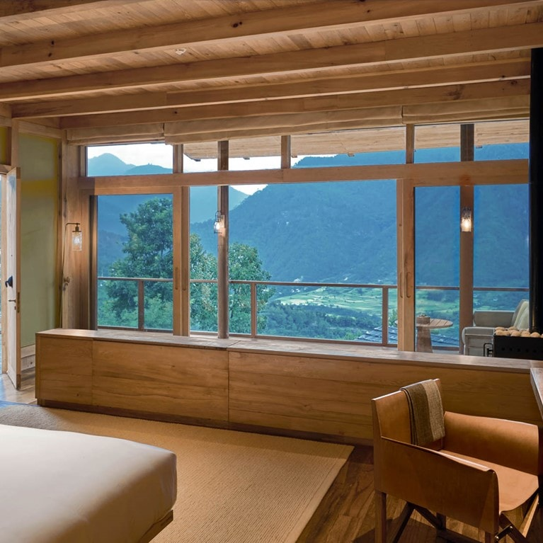 Lodge Suite bedroom at Six Senses Punakha