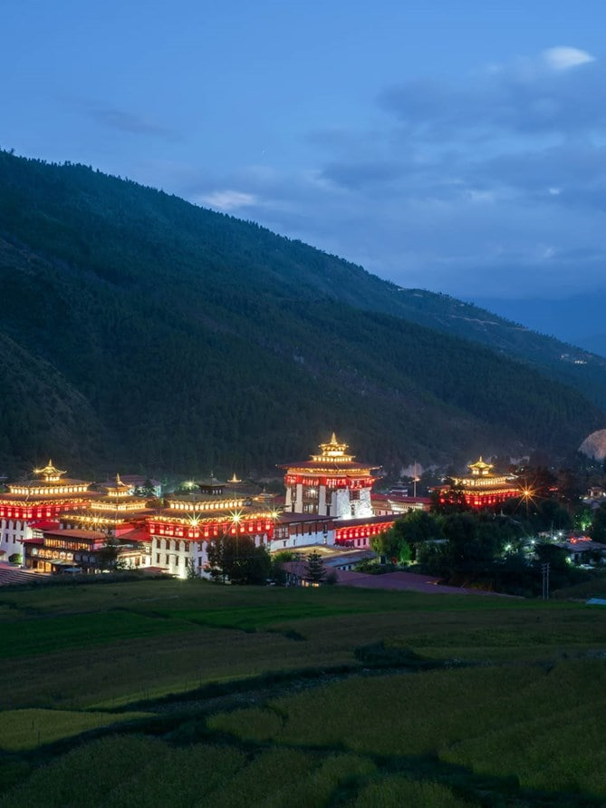 Bhutan Thimphu_Dzong_from_distance