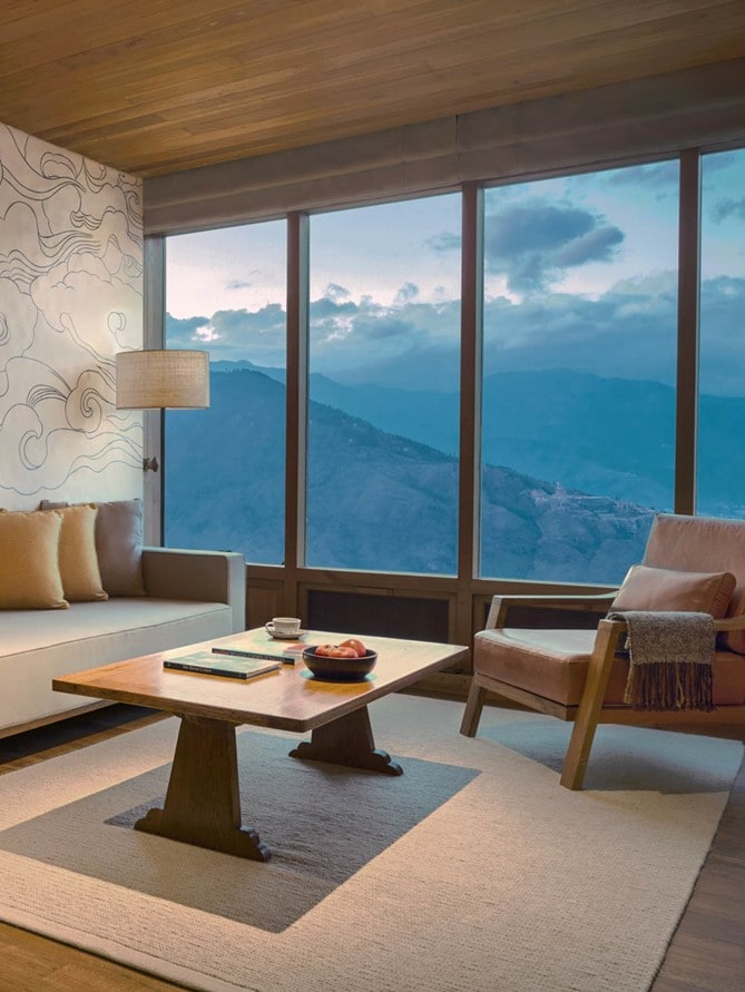 Lodge Suite living room at Six Senses Thimphu