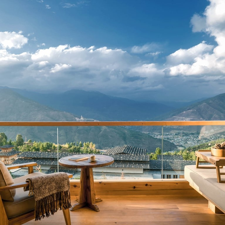 Lodge Suite balcony at Six Senses Thimphu